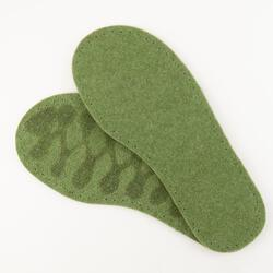 Adultaposs Thick Felt Slipper Soles wLatex Grip 9quot  Green