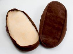 Suede leather and fleece soles  Chocolate Child 1113