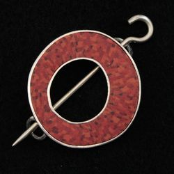 Single Circle Carnelian Shawl Pin by Bonnie Bishoff Designs