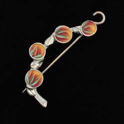 Orange Spring Bud Shawl Pin by Bonnie Bishoff Designs