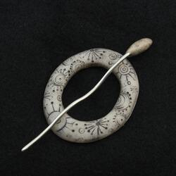 Scrimshaw Carved Ring Shawl Pin by Bonnie Bishoff Designs