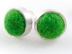 Bright Green Felted Silver Stud Earrings by Cara Romano