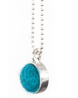 Peacock Felted Silver Chain Necklace by Cara Romano