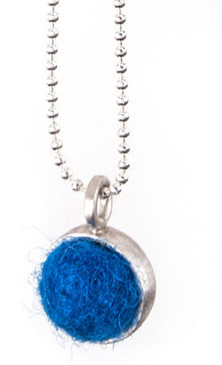 Cornflower Felted Silver Chain Necklace by Cara Romano
