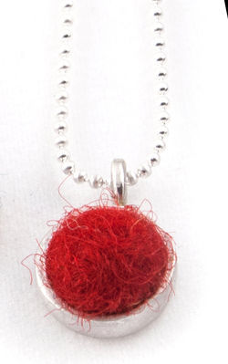 Red Felted Silver Chain Necklace by Cara Romano
