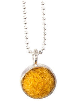 Marigold Felted Silver Chain Necklace by Cara Romano