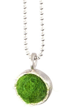 Bright Green Felted Silver Chain Necklace by Cara Romano