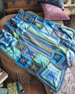 Perfectly Square Throw Blanket in Noro Taiyo color A