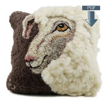 Rug Making patterns Sheep Portrait of Jack Hooking - Pattern Download
