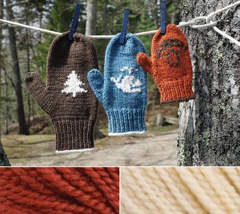 Knitting kits Pemaquid Mitt Kit - Dark Brick Red