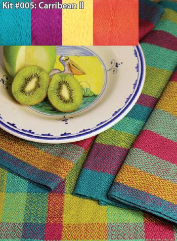 Weaving kits Organic Cottolin (Cotolin)  Caribbean II Tea Towel Kit Number 5