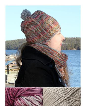 Knitting kits Telephone Line Set - Hat and Cowl Kit - Lotus