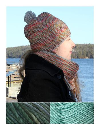 Knitting kits Telephone Line Set - Hat and Cowl Kit - Aquas