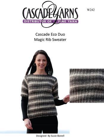 Knitting patterns Cascade Eco Duo Magic Rib Sweater Pattern
