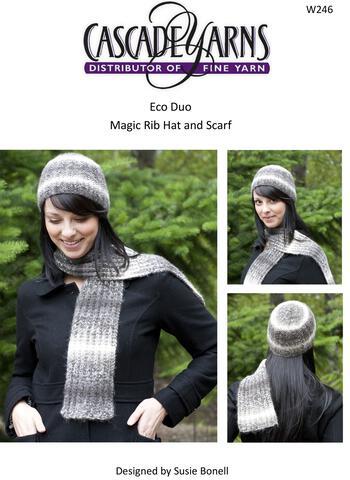 Knitting patterns Cascade Eco Duo Magic Rib Hat and Scarf Pattern