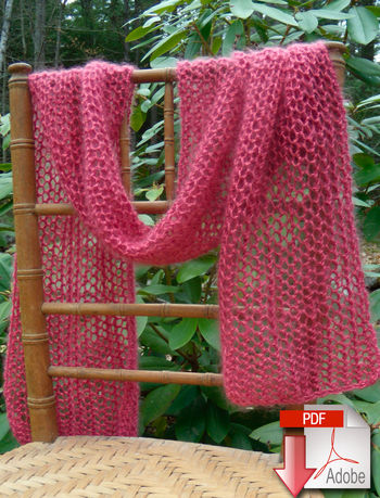 Knitting patterns Silky Honeycomb Scarf - Download