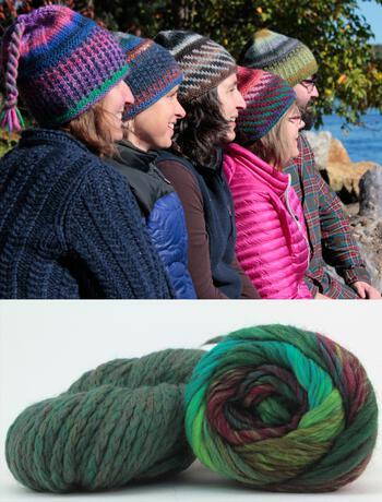Knitting kits Alpine Topper Hat Kit - multi w/green