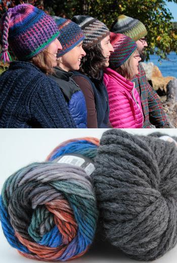 Knitting kits Alpine Topper Hat Kit - multi w/charcoal grey
