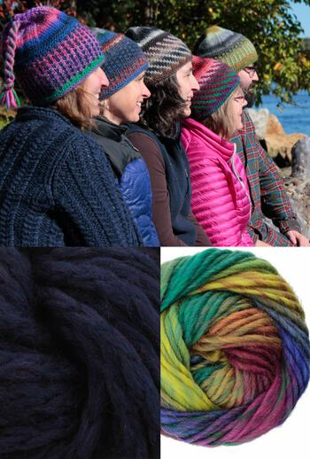 Knitting kits Alpine Topper Hat Kit - multi w/navy
