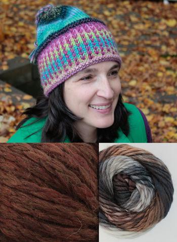 Knitting kits Alpine Topper Hat Kit - multi w/brown
