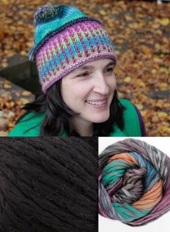 Knitting kits Alpine Topper Hat Kit - multi w/black