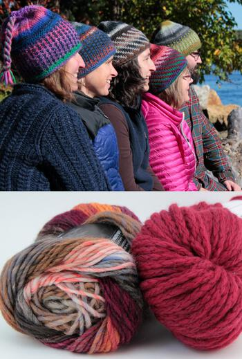 Knitting kits Alpine Topper Hat Kit - multi w/cherry red