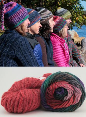 Knitting kits Alpine Topper Hat Kit - multi w/nutmeg