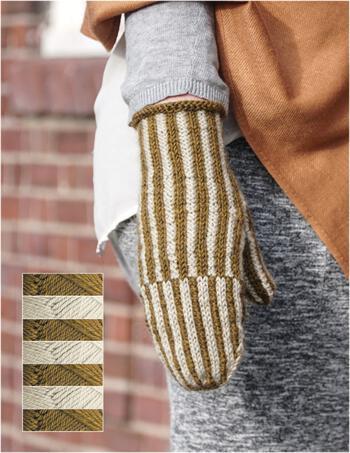 Knitting kits Corrugated Mitts Kit - Lichen