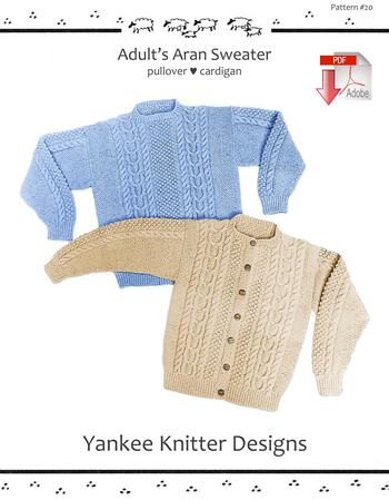 Knitting patterns Adult Aran Sweater - Yankee Knitter  - Pattern download