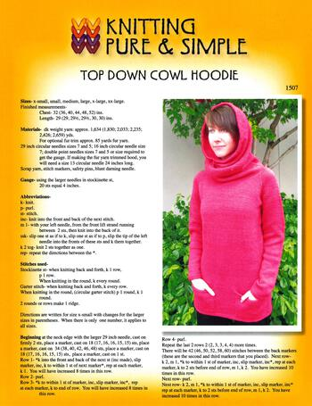 Knitting patterns Top Down Cowl Hoodie by Knitting Pure and Simple