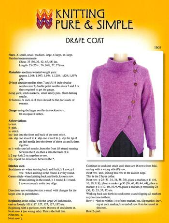Knitting patterns Drape Coat by Knitting Pure and Simple