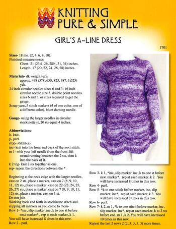 Knitting patterns Girl's A-Line Dress by Knitting Pure and Simple