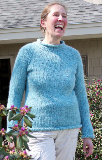 Knitting patterns Bulky Neck Down Pullover by Knitting Pure and Simple