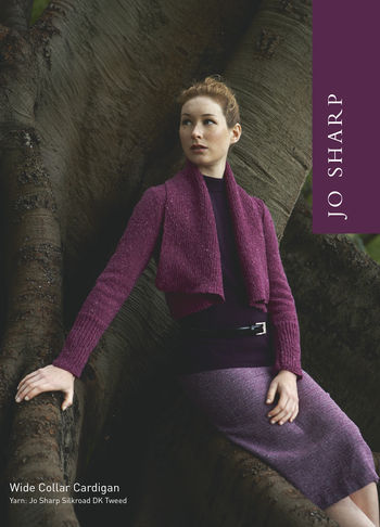 Knitting patterns Jo Sharp Wide Collar Cardigan Sweater Pattern