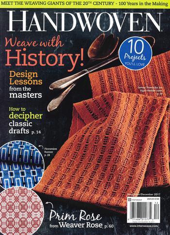 Weaving magazines Handwoven Nov/Dec 2017