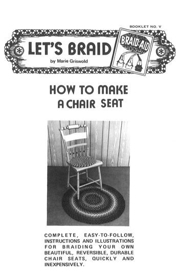 Rug Making books How to Make Braided Chair Seats