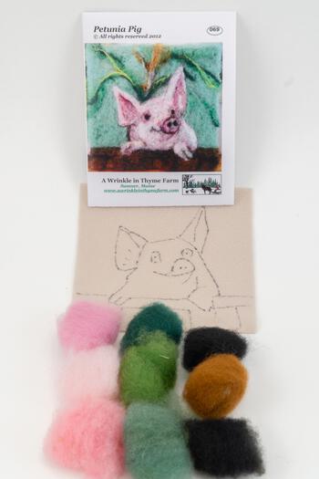Felting kits Pig Tile Felting Kit
