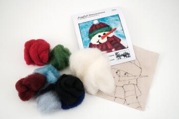 Felting kits Joyful Snowman Tile Felting Kit