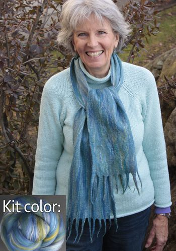 Felting kits Silk Merino Scarf Kit - Ocean from Ashford