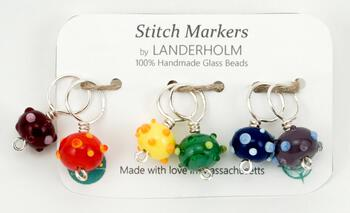 Knitting equipment Rainbow Glass Stitch Markers, Size Medium, Set of (6)