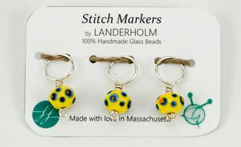 Knitting equipment Multicolor Glass Stitch Markers, Size Medium, Set of (3)