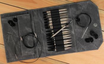 "Knitting equipment Lykke 5"" Interchangeable Circular Knitting Needle Set - Grey Faux Denim Case"