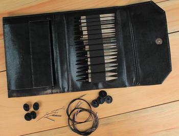 "Knitting equipment Lykke 5"" Interchangeable Knitting Needle Set Black Faux Leather Case"