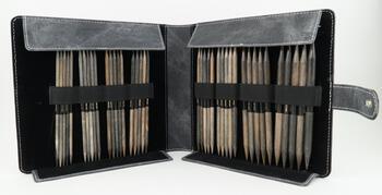 """Knitting equipment Lykke 6"""" Double Point Knitting Needle Set Large - Grey Faux Denim Case"""