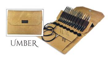 "Knitting equipment Lykke 5"" Interchangeable Circular Knitting Needle Set - Umber Faux Denim Case"