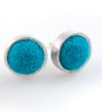 Multi-Craft equipment Peacock Felted Silver Stud Earrings by Cara Romano