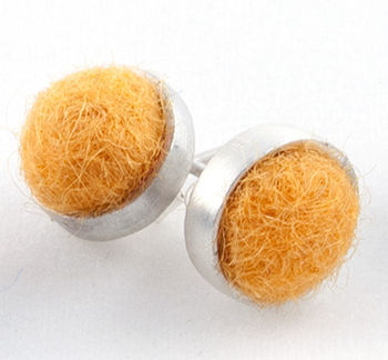 Multi-Craft equipment Marigold Felted Silver Stud Earrings by Cara Romano