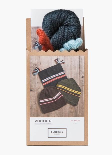 Knitting kits Blue Sky Fibers Ski Hat Trio (Blue) Kit