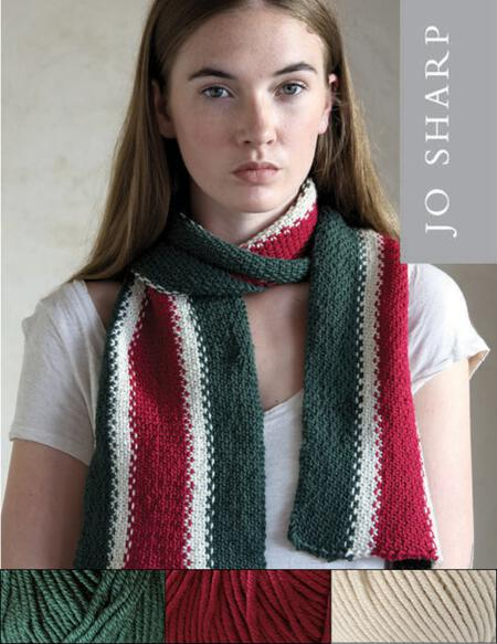 Knitting kits Jo Sharp Old School Scarf Kit - Green/Red