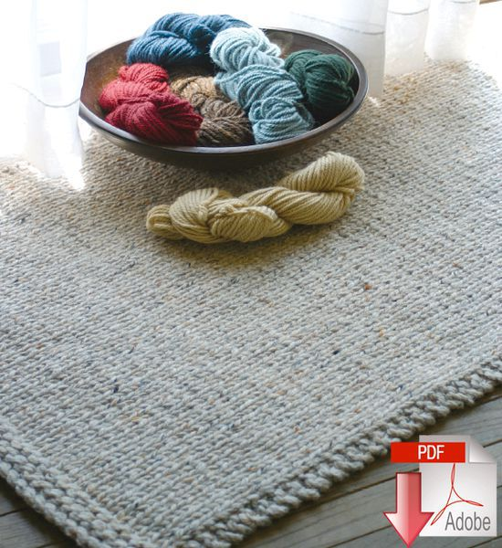 Knitting Patterns Knitted Rectangular Rug - Pattern download